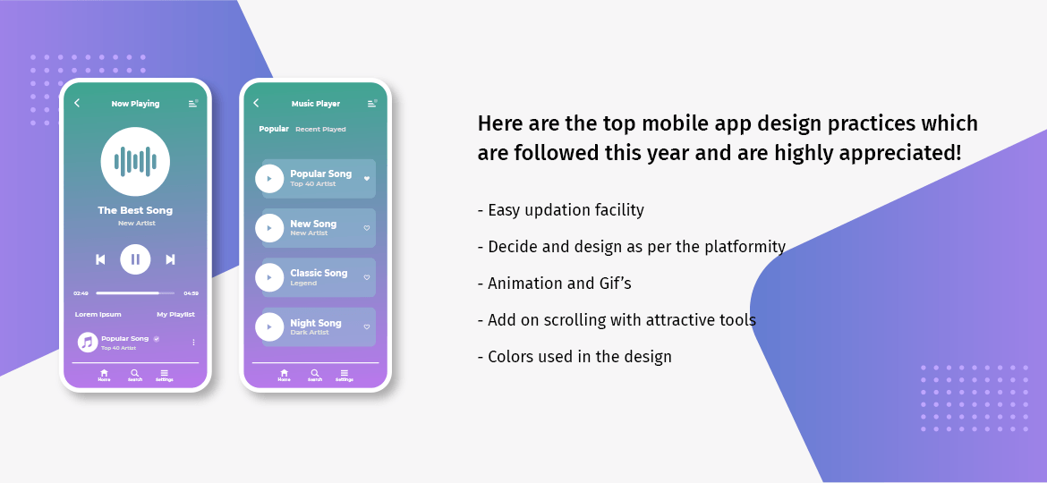 Here are the top mobile app design practices which are followed this year and are highly appreciated!