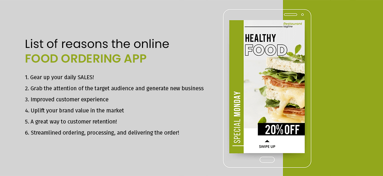 list of reasons the online food ordering app