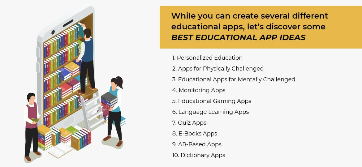 While you can create several different educational apps, let's discover some best educational app ideas.