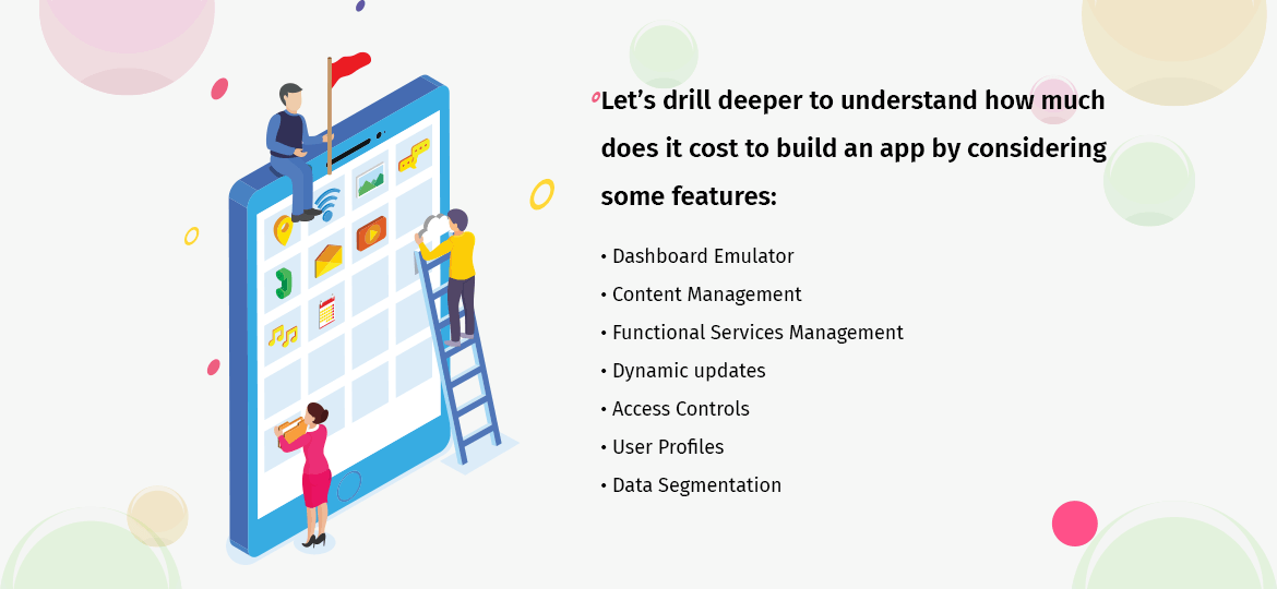Let's drill deeper to understand how much does it cost to build an app by considering some features: