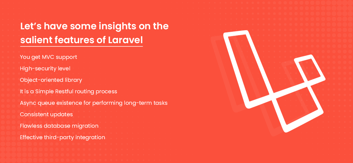 Let's have some insights on the salient features of Laravel: