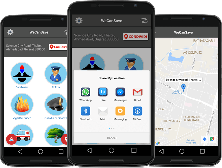 Emergency GPS and Contact Sharing App