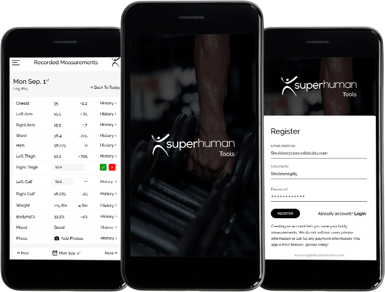 App for fitness/body measurements recording