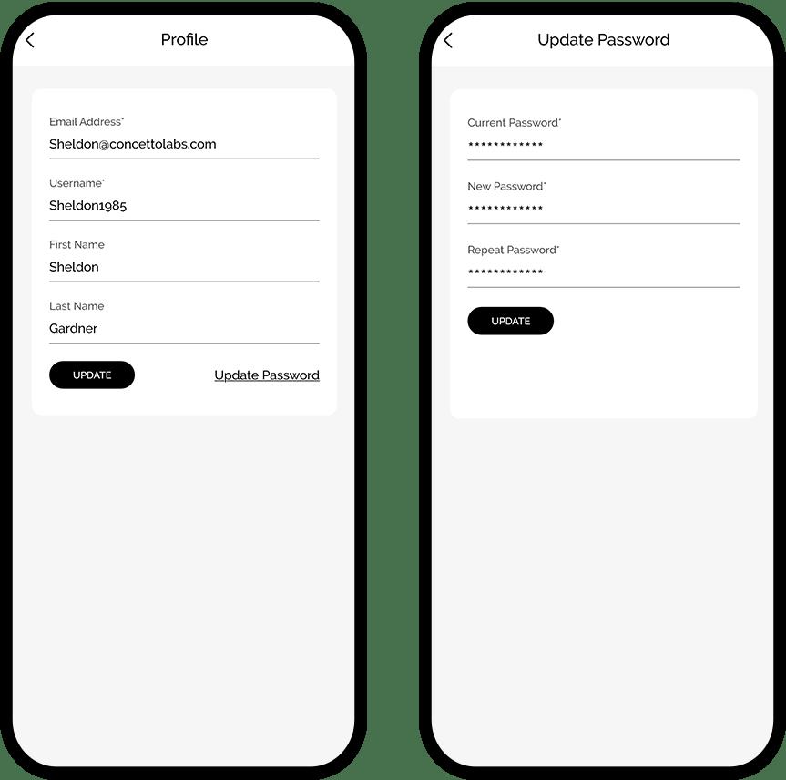 Profile & update password Screen