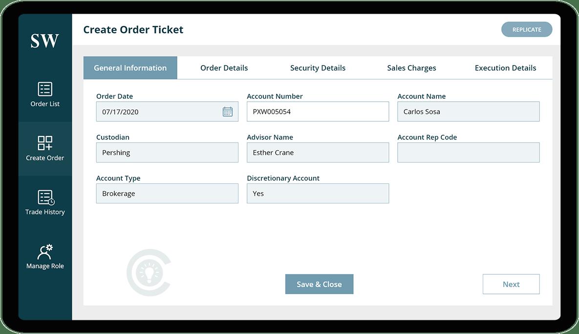 Create Order Screen